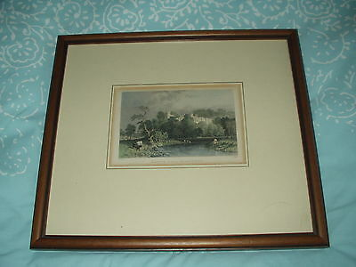 ANTIQUE PICTURE etching engraving of HADDON HALL DERBYSHIRE in modern frame