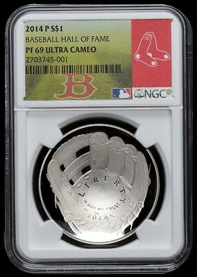 2014-P Baseball Hall of Fame Silver PF69 UC NGC Dollar - Boston Red Sox label