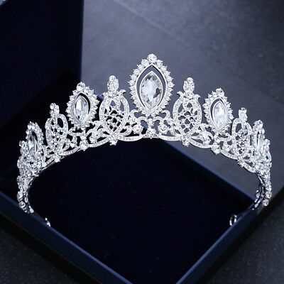 6cm High Clear White Crystal Large Wedding Bridal Party Pageant Prom Tiara Crown