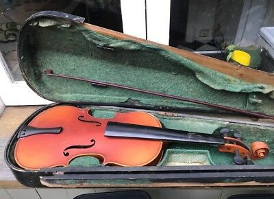 Antique Violin Copy Of Antonius Stradivarius With Coffin Case