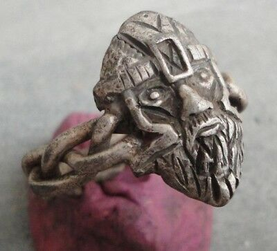 Ancient SILVER Ring VIKING WARRIOR Fine artifact HUGE HEAVY EXTREMELY RARE