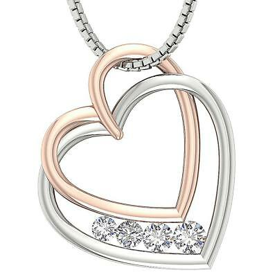 Natural Diamond 0.65Ct VVS1 F Double Heart Pendant Necklace 14Kt Two Tone Gold