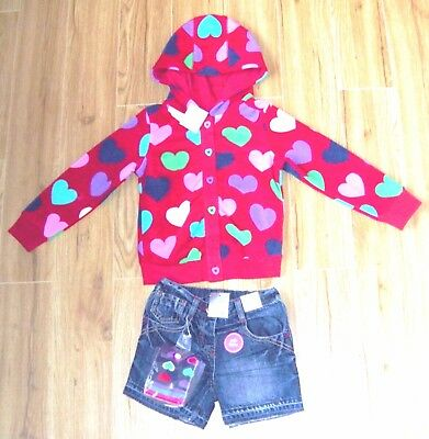 Bnwt Next Girls Heart Hoody Jacket Denim Shorts & Tights 4-5 Yrs New Christmas