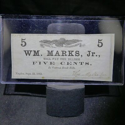 1862 Obsolete Currency Naples New York 5 Cent Note WM. Marks, Jr