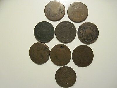 Lot of Two cent pieces (9pc)