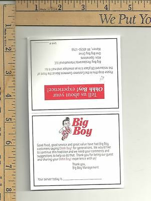 5 nos - 2006 Big Boy Restaurant We Care question card for OHHH BOY! experience