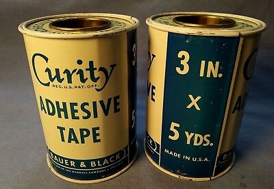 2 Vintage Army Curity Adhesive Tapes Bauer & Black 3'' X 5 Yards 1952 Never Used