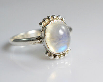 Rainbow Moonstone 925 Solid Sterling Silver Handmade Ring Size F to Z 1/2 UK
