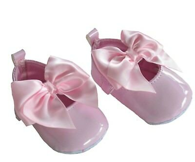 Baby Girls spanish Gorgeous Patent Ribbon Bow Shoes Christening Wedding 6 color