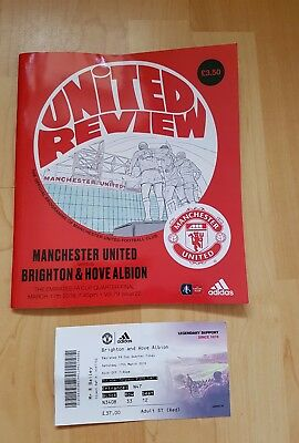 Manchester United v Brighton and Hove Albion match programme and ticket FA Cup