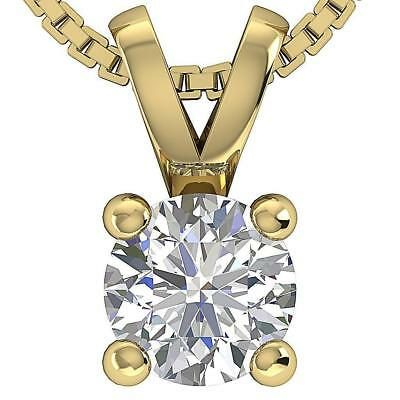 I1 H Solitaire Pendant Necklace 0.80Ct Round Diamond White Yellow Gold Appraisal