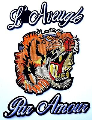 "XL Tiger Precision Embroidered Patch Applique Jacket 13"" L'Aveugle Par Amour"