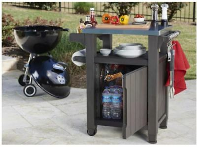 BBQ Grill Accessories Outdoor Prep Station Small Kitchen Island Food Keter  Patio