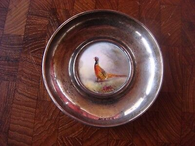 Abercrombie & Fitch 1929 Sterling Silver Vanity Bowl  w/ Pheasant Inlay England