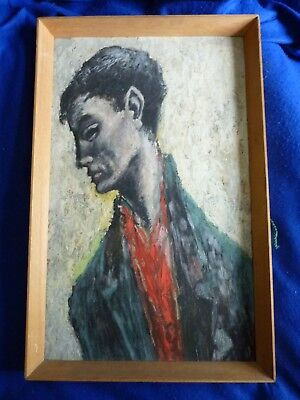 Vintage portrait oil painting on board - signed & dated 1956 – Irish ?