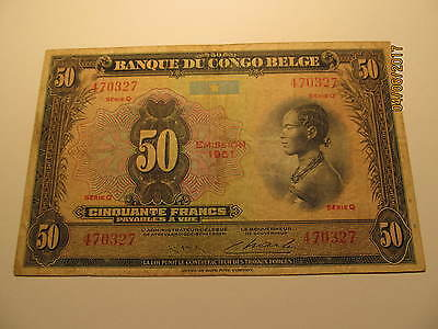 Congo 50 Francs Banknote, Emission 1951, Nice Circulated Condition