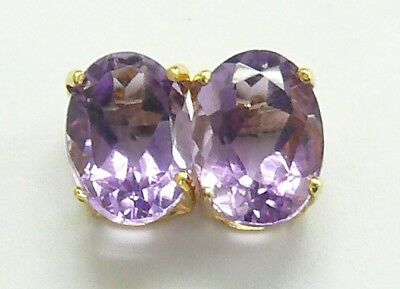 Syjewellery 9Ct Yellow Gold Oval Natural Amethyst Stud Earrings  E811