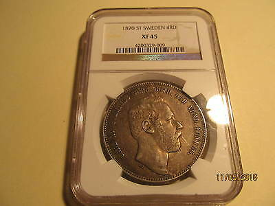 1870 ST Sweden 4 Riksdaler Silver Coin NGC XF45 Excellent Eye Appeal Nice Coin
