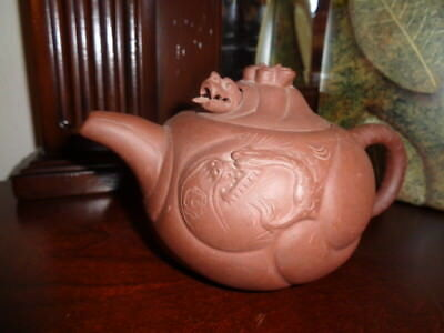 Vintage Chinese Red Clay Dragon Movable Head & Tongue Whistling  Asian Teapot