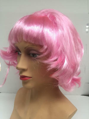 Frenchie Pink Wig Grease 50s Womens Fancy Dress Accessory New