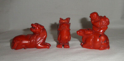 3 Vintage Antique Chinese Carved Red Coral Figures, Boy Oxen, Bird And Lion