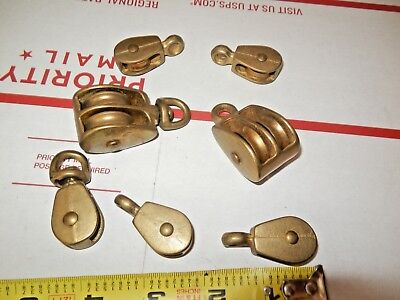 vintage Lot of 7 Marine bronze BRASS PULLEYs  steampunk boat ship sailboat