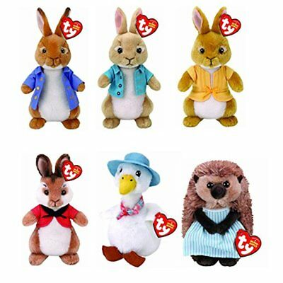 "SET of 6 TY 8"" Cottontail Flospy Mopsy Peter Rabbit Mrs Tiggy Winkle Jemima Duck"