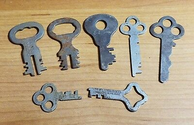 Lot of 7 Vintage Antique FLAT SKELETON DOOR, FURNITURE CABINET OLD LOCK KEYS