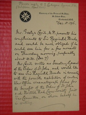 1916 Letter to Sir Reginald Brade from Evelyn Cecil M.P.  Order of St. John.
