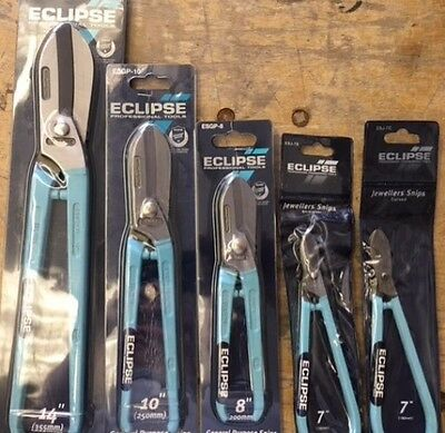 "Eclipse Tin Snips 14"" 10"" 8"" 7"" Set Of 5 Metal Cutting Shears & Jewellers Snips"