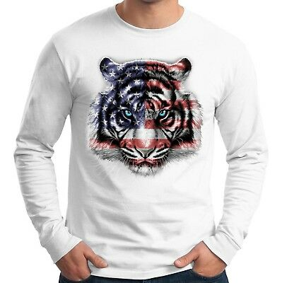 Velocitee Mens Long Sleeve T-Shirt Majestic American White Tiger Face A21679