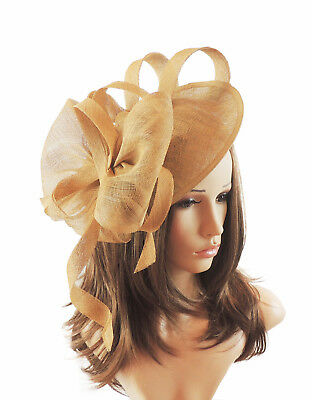 Gold Fascinator Hat for Weddings/Ascot/Proms With Headband F8