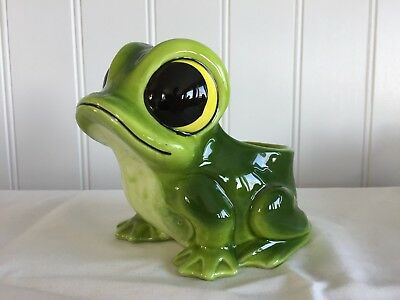 Super Cute Vtg Napco / Lefton / Other Frog Planter Sponge Scrubbie Holder E798