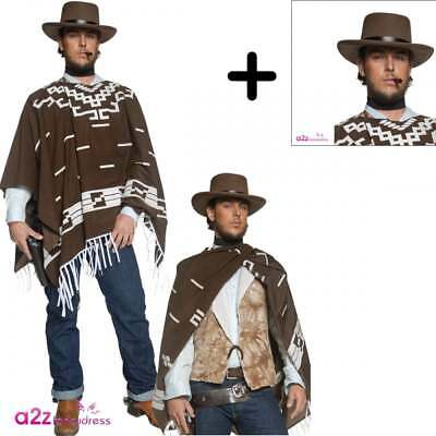 4d7312bbac0 Mens Western Gunman Clint Eastwood Wild West Cowboy Fancy Dress COSTUME +  HAT