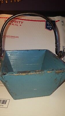 Vintage Antique Rice/Berry Bucket-Wrought iron Handle- RICE BUCKET- teal blue