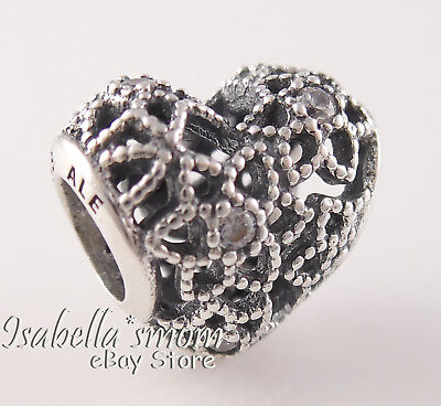 5cdb622ab BLOOMING HEART Authentic PANDORA Silver FLORAL~FLOWERS Charm 796264CZ NEW w  BOX!