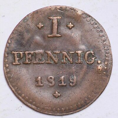 1819 Germany 1 Pfennig Nice Foreign Coin!  FREE SHIPPING