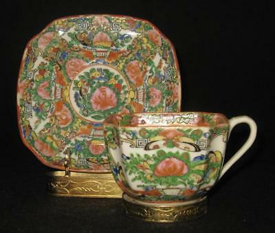 Chinese Rose Medallion Four Sided Square Cup & Saucer Set