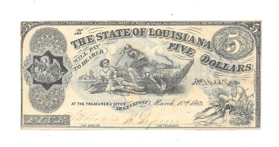 "1863 $5 State Of Louisiana Shreveport ""k"" Series Civil War Era Obsolete Currency"