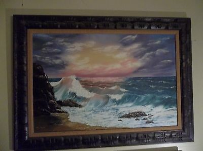 VINTAGE BY M. HALL OIL PAINTING OF WAVES 1960s OREGON COAST SUNSET ORANGE PURPLE