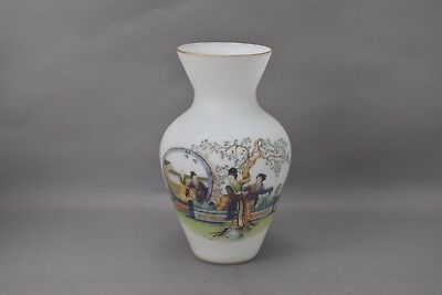 Chinese Vase White Opaque Glass Painted Scene with Calligraphy