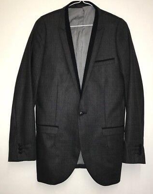 Ms1767 Next Men's Boys Grey & Black Blazer Suit Jacket Size 34S- Slim Fit