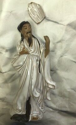 VINTAGE CHINESE WHITE GLAZED STONEWARE 'CIVIL OFFICIAL with FAN' FIGURINE