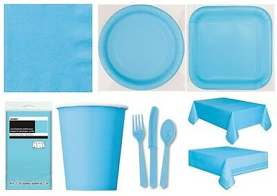 POWDER BLUE Party TABLEWARE Supplies Light Baby Pale Napkins Plates Balloons{1C}