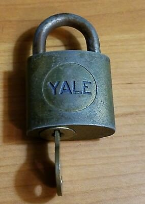 Vintage YALE & TOWNE MFG.CO. BRASS PADLOCK w/ KEY,Old Lock