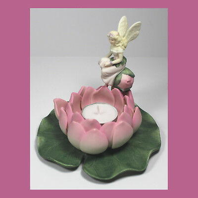 *RETIRED Partylite FAIRY & WATERLILY Lotus FAIRYLAND Holder w/ Candle TEA LIGHT!