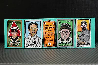 Walter Johnson,Eddie Plank,Johnny Evers,Nap Lajoie original baseball painting