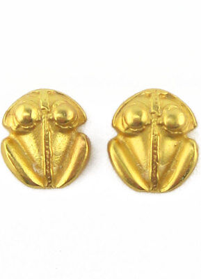 ACROSS THE PUDDLE 24k Gold Plated Pre-Columbian Smooth Frog (XS) Earrings