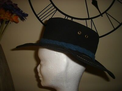 Black Unisex Suede Leather Acubra Outback Cowboy Hat By Ozatts