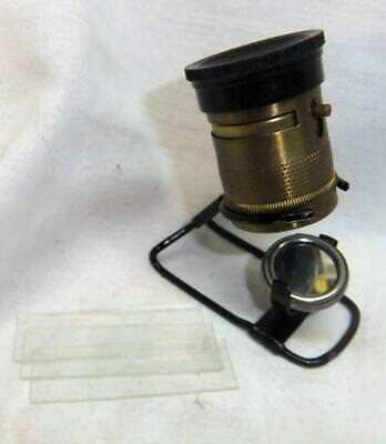 Vintage German Pocket Microscope  w Box and Slides